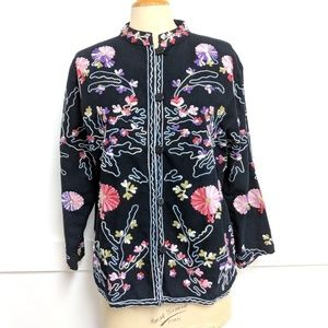Vintage Black Floral Embroidery linen tunic 12